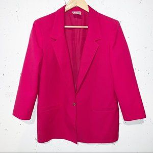 Vintage TanJay Fuchsia Pink Oversized Blazer Single Button and Extra Button